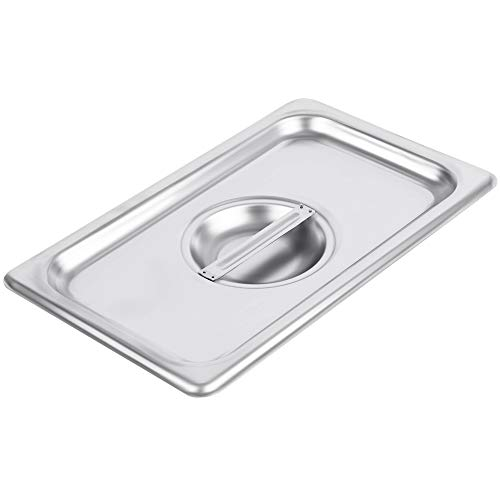 (1/4 Size Stainless Steel Solid Steam Table Pan Cover, Pan Lids, Non-Stick Surface, Lid for 1/4 Size Steam Pans with Handle)