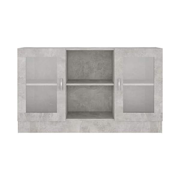 vidaXL Armoire à Vitrine Buffet Meuble de Rangement Armoire de Rangement avec 2 Compartiments et 2 Portes Maison Gris…