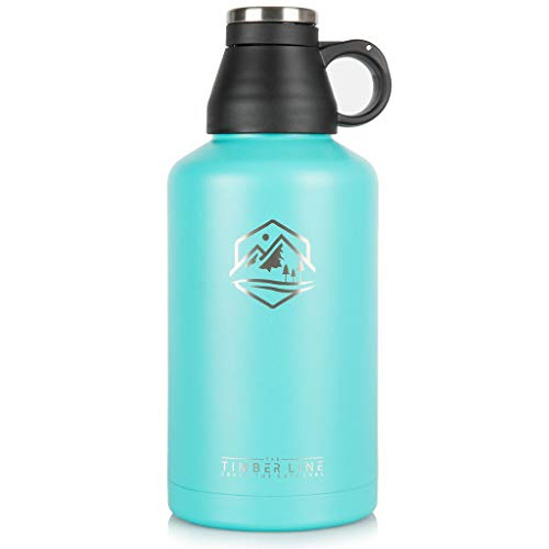 64 oz Insulated Water Bottle and Growler, Vacuum Insulated Stainless Steel, BPA Free, Double Walled Half Gallon Sports Water Jug, Wide Mouth - Leak Proof Cap for Beer, Keeps Drinks HOT and Cold (Teal)