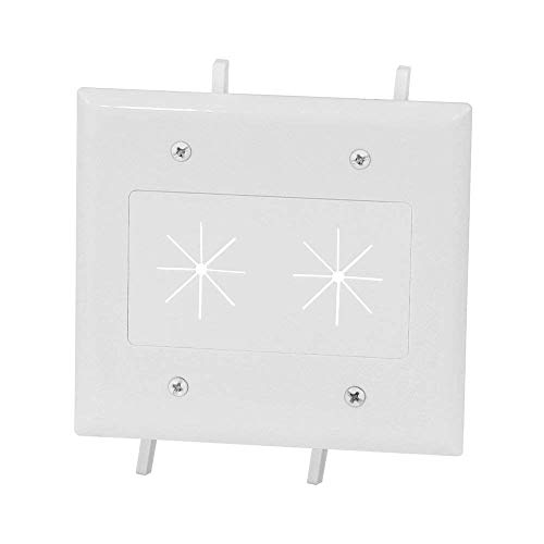 Cbl Plate - DataComm Electronics 45-0015-WH Cable Plate with Flexible Opening, 2 Gang