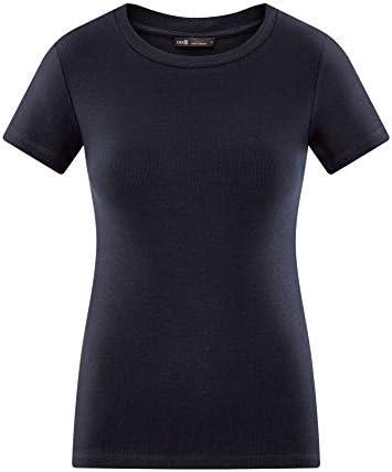 oodji Ultra damski taliowany t-shirt z okrągłym wycięciem pod szyją: Odzież