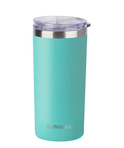 SUNWILL Coffee Mug with Lid, Vacuum Insulated Skinny Tumbler Lowball, Double Wall Stainless Steel Coffee Cup for Travel, Indoor and Outdoor 14oz, Powder Coated Teal