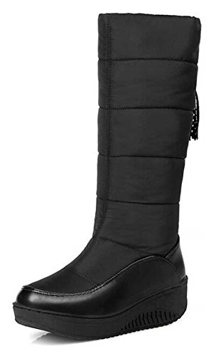 CHFSO Women's Casual Solid Tassel Waterproof Fully Lined Pull On Mid Calf Mid Heel Platform Warm Winter Snow Boots Black 7 B(M) (Heel Womens Winter Snow Boot)
