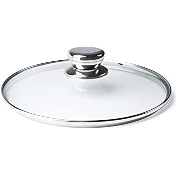 ETHDA Tempered Glass Lid, Fits Cookware of 12.5 Inch, Universal Replacement For Frying Pans,Pots,Cast Iron Skillets,Woks,Round,Transparent,with Steam Vent ...