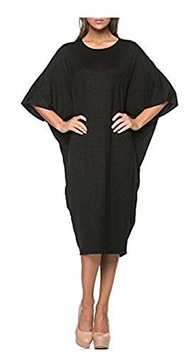 Azules Women's Kimono Style Caftan Rayon Span Solid Midi Dress (XL, Black)
