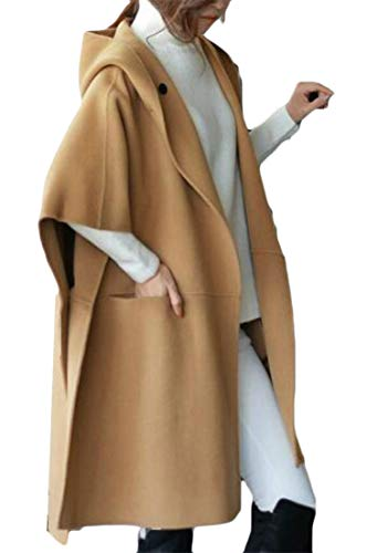 Wofupowga Women's Hooded Wool Blend Loose Mid Length Dolman Sleeve Solid Color Poncho Cape Pea Coat Khaki (Sleeve Hooded Poncho)