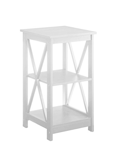 Convenience Concepts Oxford End Table, White (White Round Nightstand)