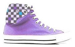 Purple Checkered Chatties Girls Foldover Hi-Tops Shoes//Sneakers 1//2