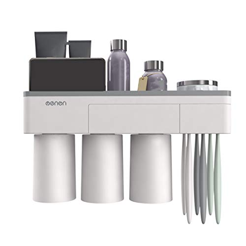 Magnetic Toothbrush Holder Wall Mount Electric Toothbrushes Slots Cosmetic Organizer and Drawer with Phone - Drawer Holder Toothbrush In