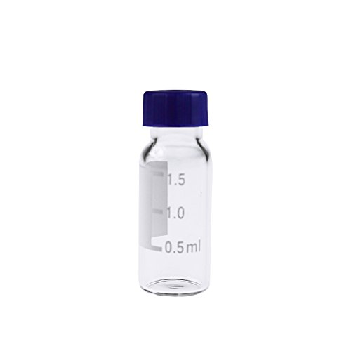 ALWSCI Borosilicate Clear Glass 1.8mL Vial with Graduation and 9mm Blue ABC Screw Cap 100 of Pack (Borosilicate Sample Vials Glass)
