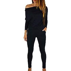 Fixmatti Women Off Shoulder Elastic Waisted Long Pant Casual Jumpsuit Outfits