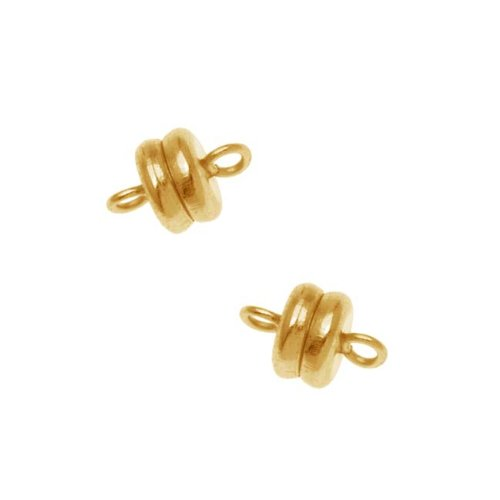 Magnetic Clasp, 6x4.5mm, 4 Clasp Sets, 22K Gold Plated (Bracelet Gold 22kt)