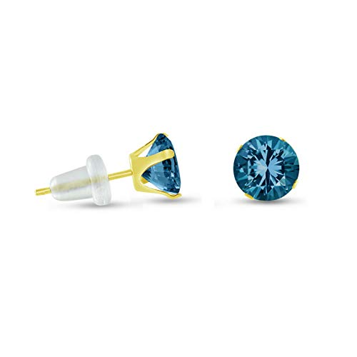 Campton Round Blue Zircon CZ Solid 10K Yellow Gold Stud Earrings - Many Sizes 2-10mm   Model ERRNGS - 14230   5mm - Top Seller (Hop The Coral Cape)