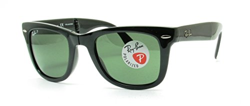Ray-Ban Sunglasses - RB4105 Folding Wayfarer / Frame: Black Lens: Green Polarized (54 - Ban Ray Folding Wayfarer Polarized Rb4105
