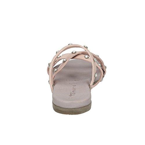 Tamaris 27136-38 100 Damen Pantolette Aus Glattleder Nieten-Besatz Gummizüge Rosé
