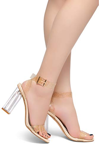 Heel Perpex Block Buckle Clear Herstyle Toe Chunky Lucite Adjustable Cllaary Heel Women's Ankle Open Nude Clrglt High Strap Sandal wttgqp