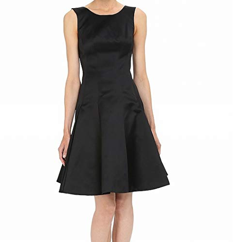 Zac Posen Women's Satin Double Face Duchess Fit and Flare Sleeveless Dress, Licorice 8