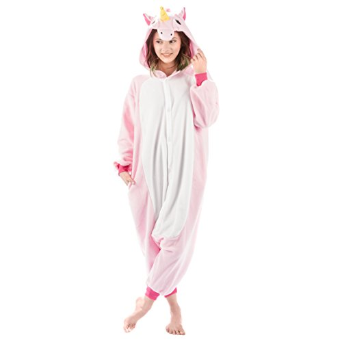 Emolly Fashion Adult Unicorn Animal Onesie Costume Pajamas for Adults and Teens (X-Large, Pink)