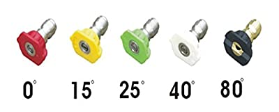 Diam Apparel Nozzle Pressure Washer Accessories Spray Kit 5 Pack Set, 5 Angles, 5 Colors, Lightweight, Stainless Steel, Quick Release, ¼' Thread, 4000 PSI, Heavy Duty and Light Washing