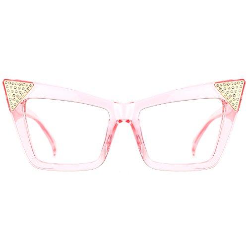 Slocyclub High Pointed Cat Eye Clear Full Frame Eyeglasses for - Eyeglasses Female