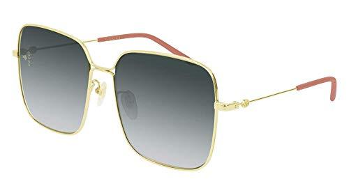 Gucci Gucci Logo GG 0443S 001 Gold Metal Square Sunglasses Grey Gradient Lens (Gucci Glasses Gg F)