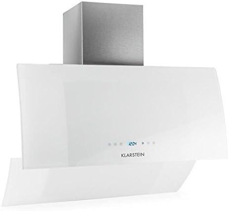 Klarstein Annabelle Eco 90 Campana extractora de pared - 90cm, Clase energética A, Función Aspiración/Ventilación, 3 Niveles potencia, 650 m³/h, Mando a distancia, Control táctil, LED, Blanco: Amazon.es: Hogar