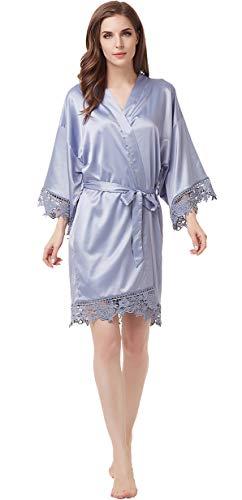 Women's Matte Satin Kimono Wedding Robe for Bride and Bridesmaid with Lace Trim One Size Grayish Blue ()