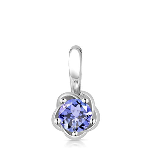 Gem Stone King 10K White Gold 0.18 Ct Round Blue Tanzanite Flower Pendant Without ()