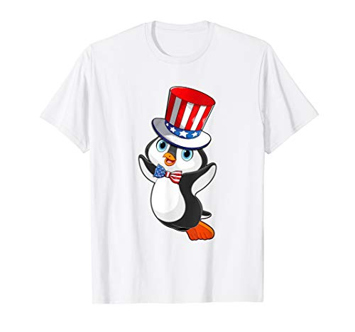Penguin American Flag Hat Patriotic 4th Of July Shirt Gifts