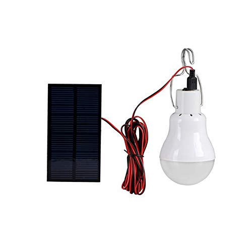Kiorc Portable Solar LED Bulb Lamp Focus Panel for Outdoor Camping, Hiking, Emergency, Hurricanes, Power Outage, Water Resistant, ()