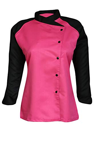 3/4 Contrast Sleeves Women's Ladies Chef's Coat Jackets By Chef Apparels (Pink, XL (To Fit Bust 40-41)) ()
