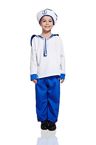 Naval Captain Uniform Costume (Kids Sailor Boy Costume Seaman Uniform Yacht Skipper Shipmate Nautical Dress Up (6-8 years, White, Royal Blue))