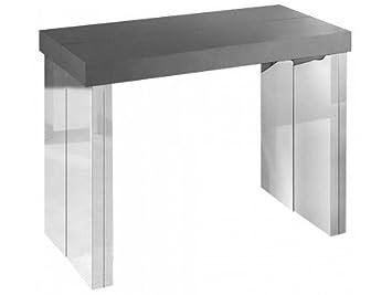Table Laquéchrome Extensible Console Suprima Rallonges Gris 3 cL5SR3q4Aj