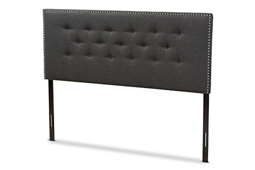 Baxton Studio Kenzie Modern and Contemporary Dark Grey Fabric King Size Headboard For Sale