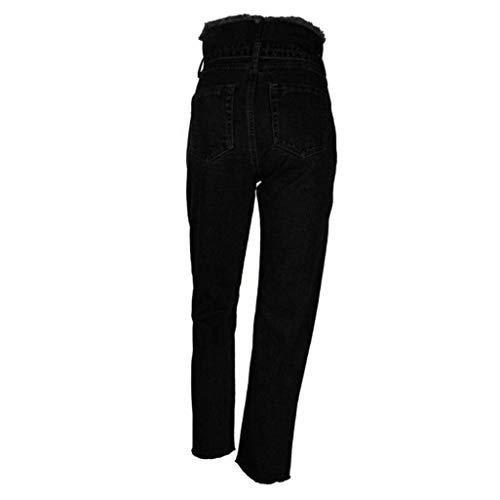 Mode Mujeres Vaqueros Pantalones Alto Denim Bolawoo Las Talle Marca Tallas Cintura Adornos Slim Grandes Jeans Aire Skinny Libre Schwarz De Al Crudos q5x7dYdX