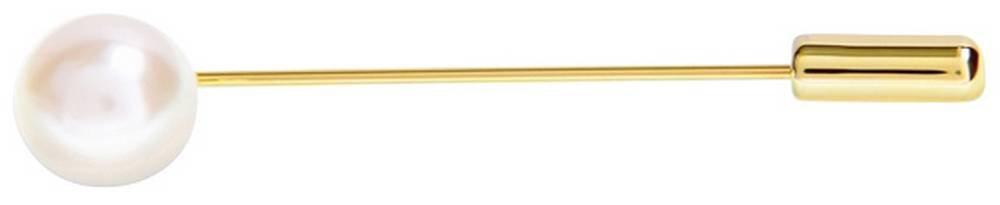 David Van Hagen Mens Shiny Pearl Stone Lapel Pin - Gold/White