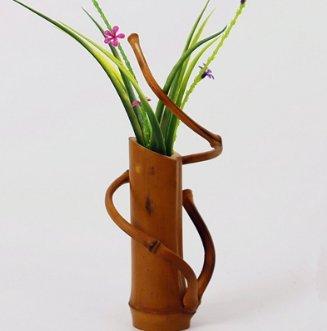 Amazon De Handmade Japanischer Bambus Blumen Vase Fur Home