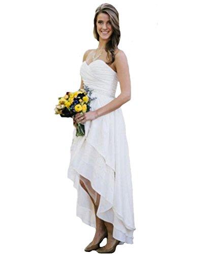 D.W.U Chiffon Hi-lo Rustic Wedding Dresses Garden Bridal Gowns