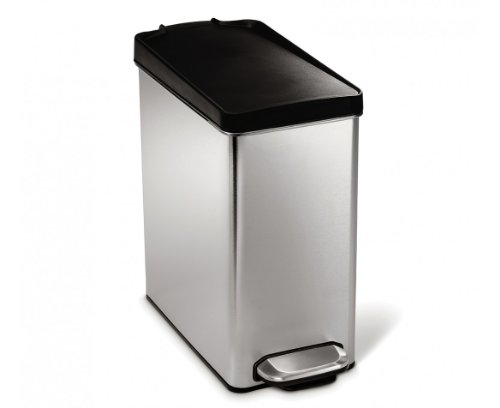 simplehuman Profile Step Trash Can, Brushed Stainless Steel, 10 Liters / 2.6 Gallons by simplehuman