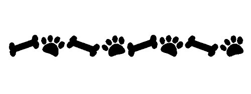 Bone Wall (Dog Paw Prints And Bones Wall Decal Removable Pet Stickers Dog Wall Decor 3