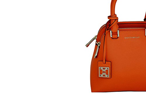 Coccinelle - Bolso de asas de piel de becerro para mujer naranja naranja