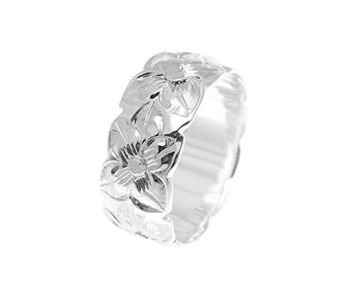 (925 sterling silver Hawaiian plumeria flower all around 8mm band ring size 10)
