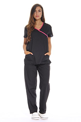 11130W Just Love Women's Scrub Sets / Medical Scrubs / Nursing Scrubs - S,Black with Pink Trim,Small by Just Love