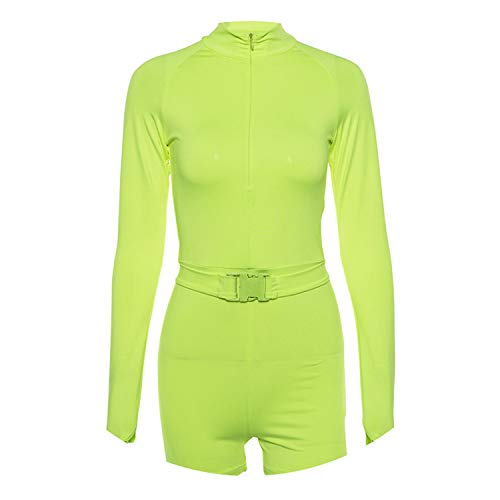 AREBULE Women Half Open Collar Long Sleeve Jumpsuit Shorts Sporting Outfit Tracksuits,Fluorescent Green,S (Best Gta 5 Outfits 2019)