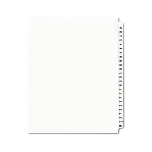Avery Legal Dividers, Standard Collated Sets, 126 -150 Tab Set (01335), White
