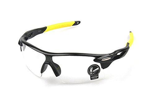 Wonzone Outdoor Sports Athlete's Eyewear UV Protection Night Vision Sunglasses Riding Glasses Eye Gear Protecor for Cycling Fishing Golf (Yellow/Black Transparent9181)