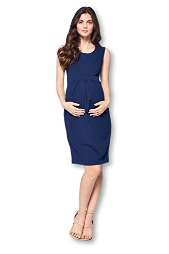 Star Motherhood Women's Front Pleated Knee Length Maternity Dress - Made in USA (Navy 2, X-Large)