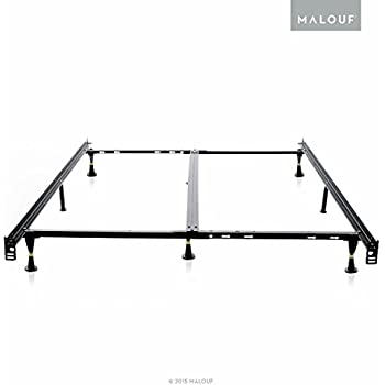 structures low profile 8 leg heavy duty adjustable metal bed frame with glides universal - Metal King Bed Frame