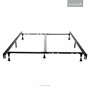 structures low profile 8 leg heavy duty adjustable metal bed frame with glides universal size cal king king queen full xl full twin xl twin - Cal King Metal Bed Frame