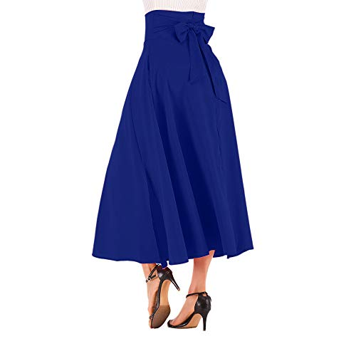 (NREALY New Women's High Waist Pleated A Line Long Skirt Front Slit Belted Maxi Skirt(L,)